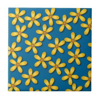 Azulejo azul das flores felizes