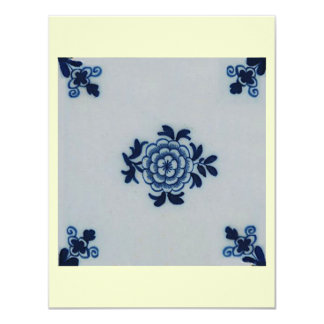 Azulejo azul de Delft do Antiquarian clássico - Convite 10.79 X 13.97cm