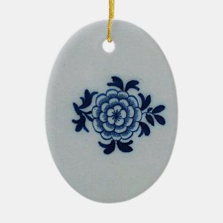 Azulejo azul de Delft do Antiquarian clássico - Ornamento De Cerâmica Oval