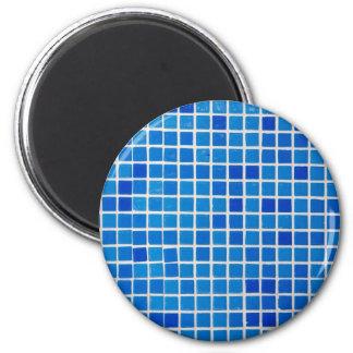 azulejo azul do banheiro ímã redondo 5.08cm
