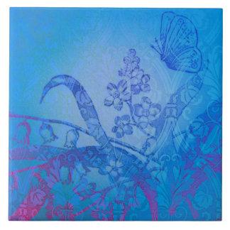 Azulejo azul do jardim da borboleta da coleção