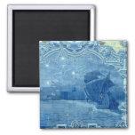 Azulejo azul ímã quadrado