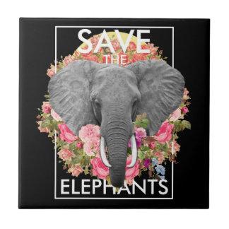 azulejo cerâmico da foto do elefante floral