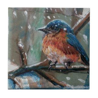 Azulejo cerâmico da foto do pássaro azul adorável