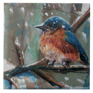Azulejo cerâmico da foto do pássaro azul pequeno