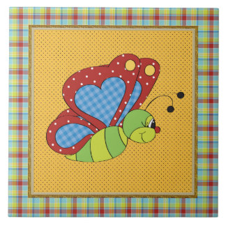 Azulejo cerâmico do divertimento da borboleta dos
