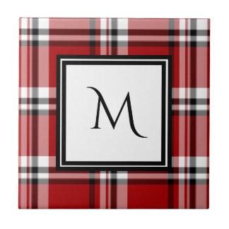 Azulejo clássico vermelho do monograma da xadrez