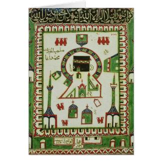 Azulejo com uma representação da Meca Cartões