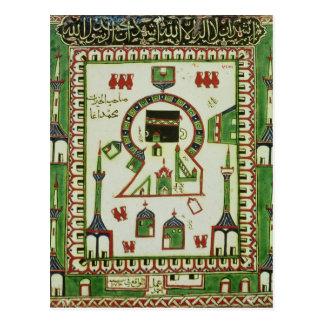 Azulejo com uma representação da Meca Cartão Postal