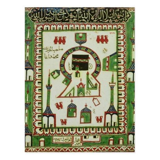Azulejo com uma representação da Meca Cartao Postal