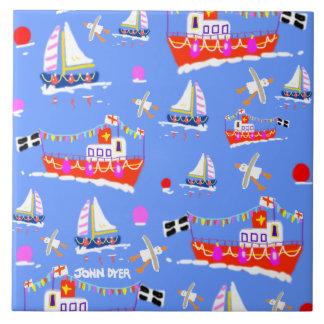 Azulejo da arte: Barcos Cornish pelo tintureiro de