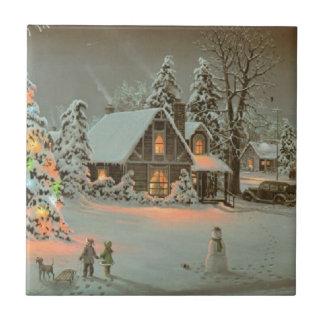 Azulejo da cena do Natal do país do vintage