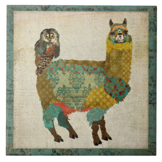 Azulejo da coruja da cerceta da alpaca do ouro