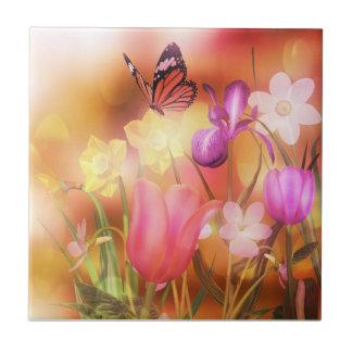 Azulejo da dança de sol do primavera da borboleta