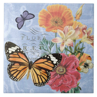 Azulejo da flora da borboleta do vintage…