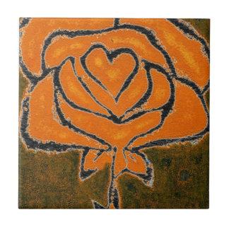 """""""Azulejo da horta do preto cor-de-rosa do coração Azulejo Quadrado Pequeno"""