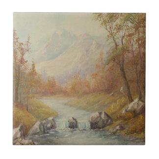 Azulejo da paisagem da angra da montanha