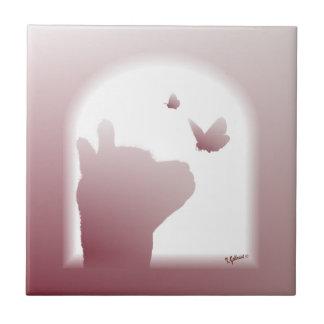 Azulejo da silhueta da borboleta da alpaca