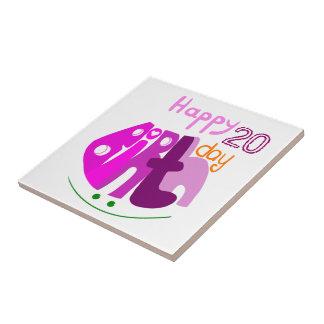 Azulejo das letras do rosa do feliz aniversario