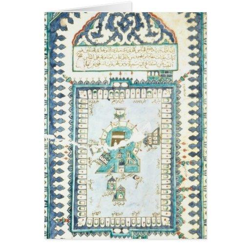 Azulejo de Iznik com uma representação da Meca Cartão