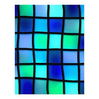 Azulejo de mosaico azul abstrato papel timbrado