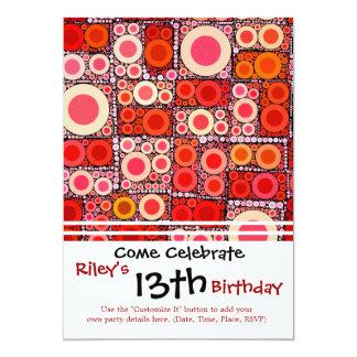 Azulejo de mosaico moderno legal do vermelho convite 12.7 x 17.78cm