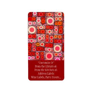 Azulejo de mosaico moderno legal do vermelho etiqueta de endereço