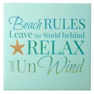 Azulejo decorativo das regras da praia