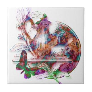 Azulejo decorativo de Teapot&Butterflies do vintag