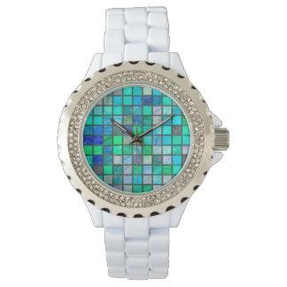 Azulejo do Aqua & relógio do cristal de rocha por