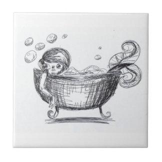 Azulejo do banheiro do esboço da sereia