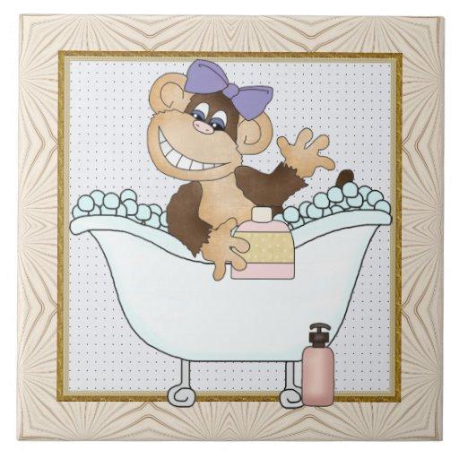 Azulejo do divertimento do banheiro do macaco dos