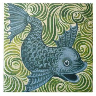 Azulejo do golfinho de Wm De Morgan Azul (que