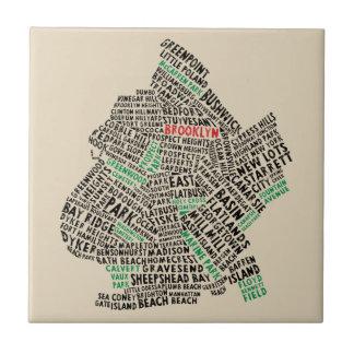 Azulejo do mapa da tipografia de Brooklyn New York