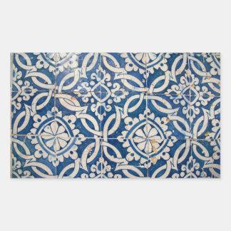 Azulejo do português do vintage adesivo retangular