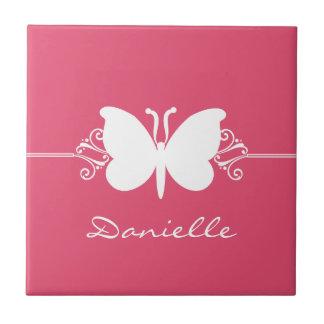 Azulejo dos redemoinhos da borboleta, cor-de-rosa