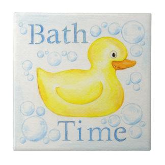 Azulejo Ducky de borracha do tempo do banho