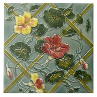 Azulejo floral antigo Repro do Majolica da treliça