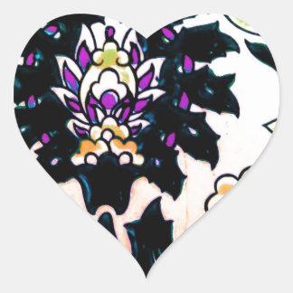 Azulejo floral do turco do otomano do vintage adesivo coração
