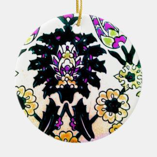 Azulejo floral do turco do otomano do vintage ornamento de cerâmica redondo