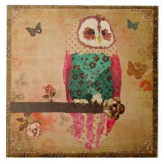 Azulejo gasto da coruja de Rosa do vintage
