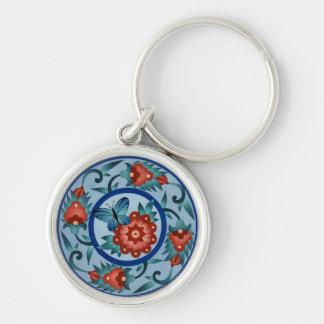 Azulejo islâmico colorido pintado mão chaveiro redondo na cor prata