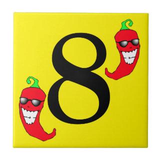 Azulejo oito quente legal do número 8 da pimenta