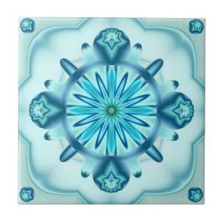Azulejo original do design do Fractal do azul de