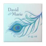 Azulejo personalizado pena Trivet do pavão da cerc