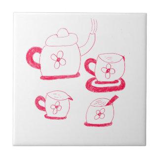 Azulejo quadrado pequeno do tempo do chá