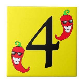 Azulejo quatro quente legal do número 4 da pimenta