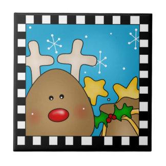 Azulejo Trivet da rena do Natal