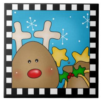 Azulejo Trivet da rena do Natal grande