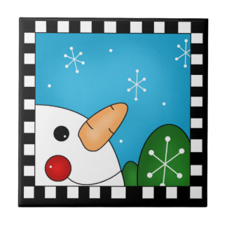 Azulejo Trivet do boneco de neve